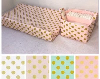 Metallic Diaper Caddy and Changing Pad Cover Set Fabric Storage Bin Basket Organizer Gold Polka Dot and Lining