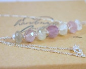 Minimalist Gemstone Necklace, Prehnite and Pink Amethyst  Necklace, Bar Necklace, OOAK Handmade Necklace,  Minimalist, Gemstone