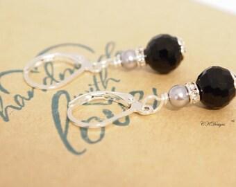 Black and Grey Earrings, Grey Pearl Earrings , Petite Dangle Pierced or Clip-on Earrings, OOAK Handmade Earrings. CKDesigns.US