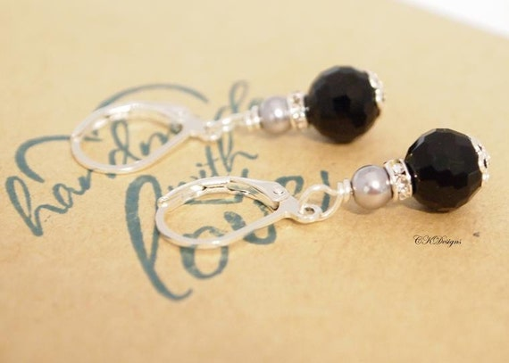 Black and Grey Earrings, Grey Pearl Earrings , Petite Dangle Pierced or Clip-on Earrings, OOAK Handmade Earrings. CKDesigns.US