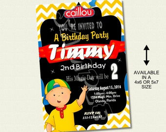 Caillou Birthday Invitation Invite Chalkboard Chevron Pattern Caillou Invitation Caillou Invite Unlimited Printing