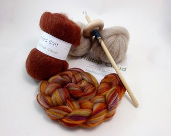 Learn to Spin Kit - Drop Spindle Kit- 150g (5.3oz) roving, batt, fibre, a spindle and beginner instructions