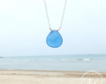 Blue Chalcedony Necklace. Royal blue jewellery. Gemstone necklace. Chalcedony pendent.