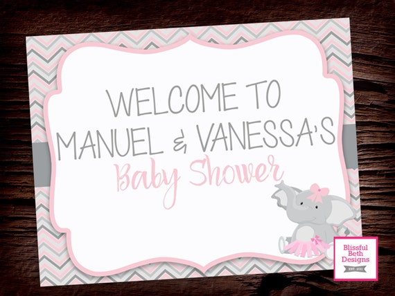 ELEPHANT WELCOME SIGN Personalized Welcome Sign, Printable Elephant Welcome Sign, Personalized Elephant Tutu Welcome Sign, Shower Welcome