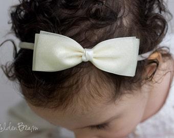Ivory Glitter Sparkly Ava bow Clip OR Headband - Baby Girl Headband - Flower Girl Headband - Baby to Adult Handmade Headband