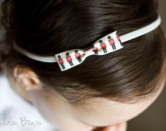 London Guards Baby Headband - British Guards Bow Headband - Small Guards Bow Handmade Headband - Baby to Adult Headband