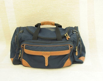 Vintage L.L. Bean Navy Blue & Brown Leather Duffle Bag