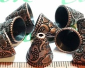 12 pcs per pack 12x11mm 10mm opening Large Cone Antique copper Lead Free Pewter