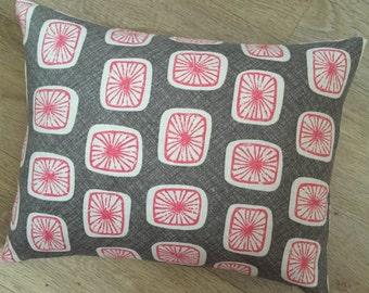 Rectangle Red linen Cushion cover Mocha white red, Modern print, Designer fabric VILLA NOVA. White cube design, Linen pillow, MoGirl DESIGNS