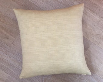 """Plain Gold,  Sunshine yellow weaved textured linen fabric from John Lewis. 18"""" SQUARE cushion cover Pillow sham."""