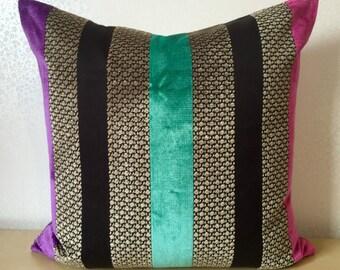 Stripe brown LINEN cushion cover Pink Purple Teal VELVET STRIPE pillow Square cushion cover Osborne and Little designer fabric velvet pillow