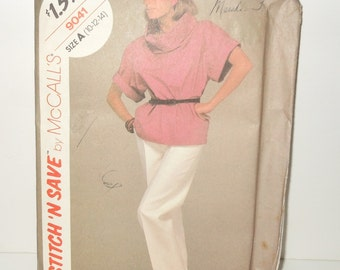 Vintage McCalls Stitch N' Save Misses Pullover Top And Pants UNCUT Size A (10-12-14) Pattern Number 9041