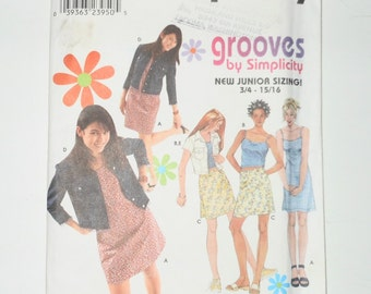 Grooves By Simplicity 2000 Uncut Junior Sizing Dress, Top,  Skirt And Jacket Sizes 3 -10 Pattern Number 9196
