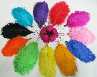 """100pcs/lot One color  6-8"""" (15-20cm) ostrich feather for Hair Clip Wedding centerpiece Bouquet Decorations Selected AA quality"""