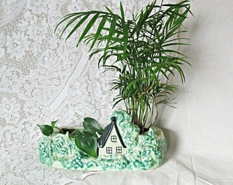 Cabin Planter Cottage Chic Vessel Vase Green Low Centerpiece Green Wedding Decor Cottage Chic Mid Century Planter