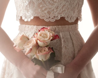 GRACE | Lace | Wedding Dress | Romantic | Boho | Two-Piece | Cropped Top | Blush | Bridal Gown | Rustic | Ivory | Off-White