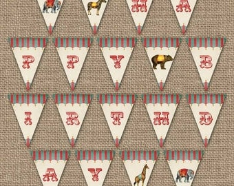 Vintage Circus Birthday Party Banner, Happy Birthday, digital PDF file, printable banner, instant download