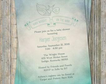Sea Baby Shower Invitation,  Sea shells watercolor,  Digital, Printable file