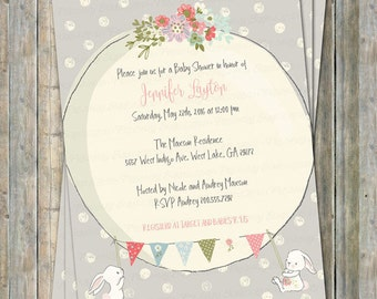 Bunny baby shower invitation, digital, printable file