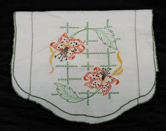Vintage Hand Embroidered Dresser Scarf Orange Lily Flowers Lilies Table Linen Decor White Green Floral