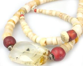 Necklace and Bracelet Set Venetian Trade Beads, Ancient African Beads, Volcanic Quartz