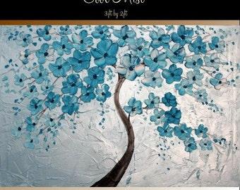 "Oil Landscape Tree painting Abstract Original Modern 36"" palette knife oil impasto oil painting Cool Mist by Nicolette Vaughan Horner"