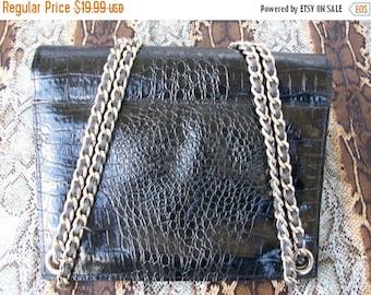 Now On Sale Vintage Black Faux Leather Purse 1960's Mad Men Mod Retro Rockabilly Accessory