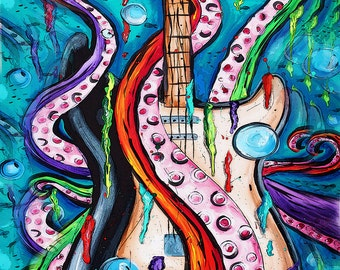 tentacle guitar poster,abstract,music art,70's art,psychadelic,funky,turquoise,alternative,guitar painting, nautical, octopus, hippie, water