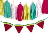 Watermelon, Watermelon Garland, Crochet Hanging, Watermelons Banner, Home Decor, Fruit Decor, Crochet Garland, Water Melon, Fruit Garland