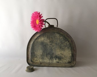 Vintage metal canteen with cap large size canteen awesome patina handle great home decor item collectors item add a flower wonderful shape