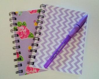 "notebook set of 2 rose chevron 50 sheets paper purple 4.5""x5.5"""