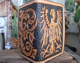 Imperial Eagle/Reichsadler & scrolls heavy duty small custom leather wallet/card holder