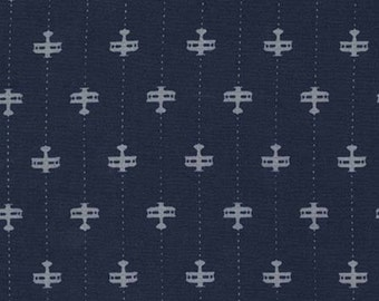 RUNWAY PLANES Michael Miller fabric by the 1/2 yard DC7212-Navy grey biplanes on dark blue