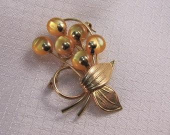 c1950's Modernist Orange Flower Brooch with Gold Ribbon