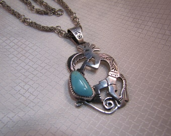 "Sterling  Kokopelli and Turquoise Pendant and Intricate 24"" Sterling Chain"
