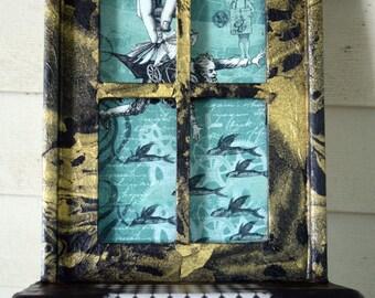 Steampunk Man's Flights of Fantasy Decoupage Window Shelf