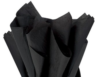 """BLACK Tissue Paper for Gift Wrapping 20""""x26"""" Solid Sheets (Your Choice of Quantity) Free Shipping!"""