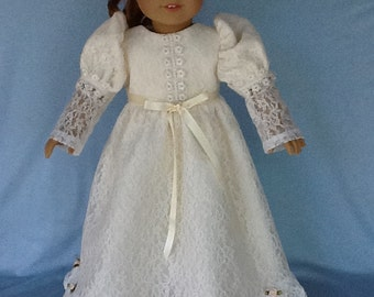 18 inch doll dress. Fits American Girl dolls. Ivory lace floor length ruffled dress.