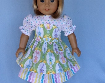 18 inch doll dress and hair clip. Fits American Girl Dolls.  Easter dress with bib apron.