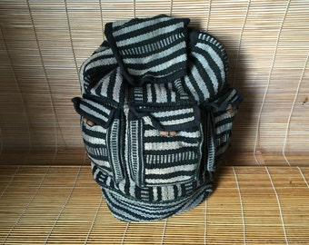 Vintage 1980's Medium Size Black And White Tribal Textile Drawstring Backpack