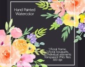 Watercolor Floral Clip Art - Watercolor Floral Frame, Flawers Watercolor, Spring Flowers, Hand Painted Watercolour, Digital Clip Art Flower