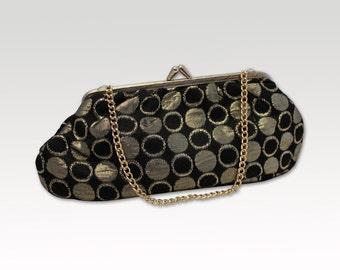 Vintage Black Gold Purse, Bridal Bag, Evening Bag, Clutch, Formal