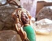 aventurine quartz fairy elf crystal anahata pendant