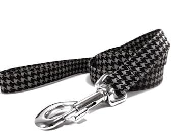 Houndstooth Black Gray Dog Leash
