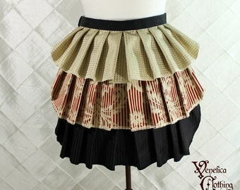 "Ruffle Bustle Overskirt - 3 Layer, Sz. XS - Gold, Ivory, Red, & Black - Best Fits up to 34"" Waist/Upper Hip -- Ready to Ship"