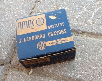 Amaco colored dustless chalk in original box midcentury vintage school supply