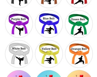 Martial Arts / Karate Belts Bottlecap Images / Kids Sports Class / Girls and Boys Images / Digital Collage 1-Inch Circles / Instant Download