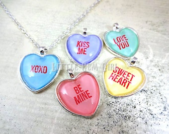 valentines day conversation heart necklace personalized valentine custom color and text sweetheart candy - Personalized Valentine Candy