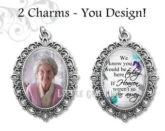 2 Wedding Bouquet Charms - Bridal Bouquet Charm with Custom Photo and Heaven Quote - 12 Designs - Personalized Memorial Jewelry Charms