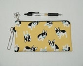 """Padded Zipper Pouch / Pencil Case / Cosmetic Bag Made with Japanese Cotton Oxford Fabric """"French Bulldgo"""" Yellow"""